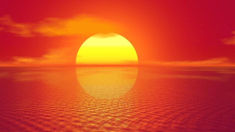 zachód słońca na czerwonym niebie